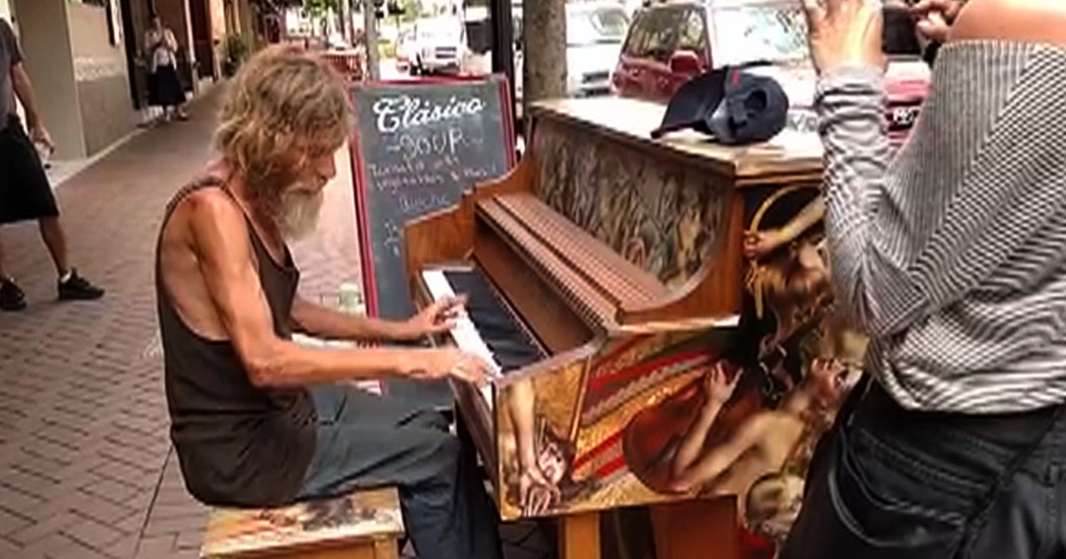 Newcastle Homeless Man Homeless Man Playing Piano