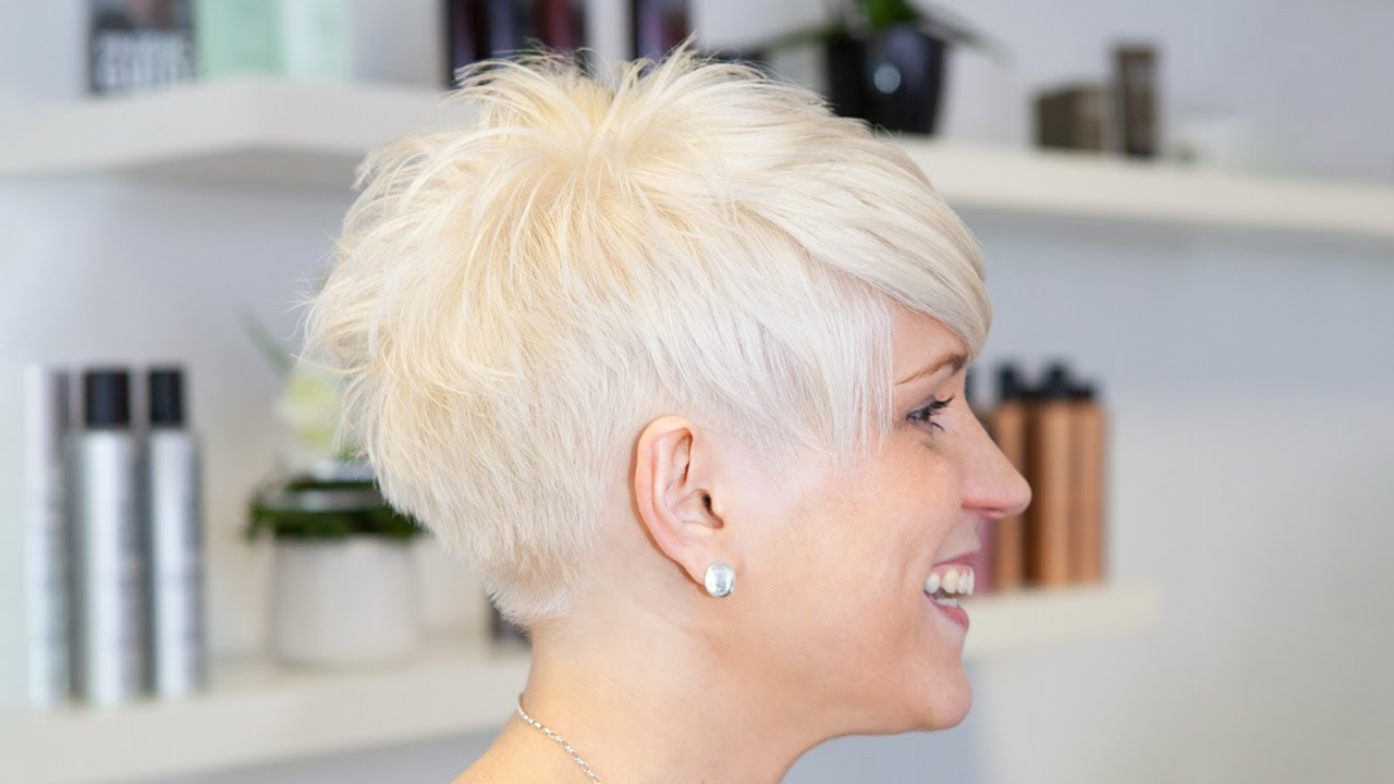 extrem short  haircut  with shaved nape buzz cut women by